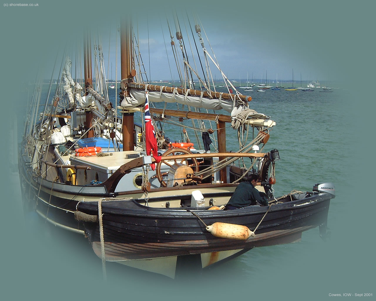 Schooner 'Galadriel' moored at Cowes Yacht Haven, September 2001.